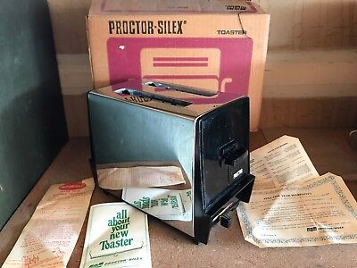 Vintage VTG SCM Antique PROCTOR SILEX 2 Slice Toaster T620B Chrome Black Tested