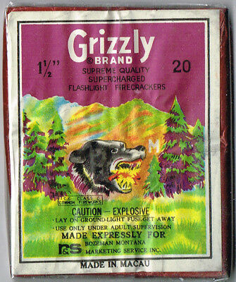 Grizzly 20's Firecracker Pack Label Firework