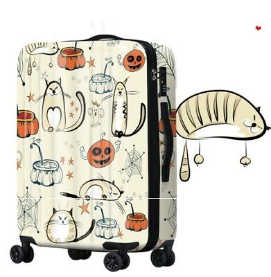 D185 Cartoon Cat Universal Wheel ABS+PC Travel Suitcase Luggage 24 Inches W