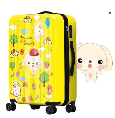 D156 Cartoon Dog Universal Wheel Yellow Travel Suitcase Luggage 24 Inches W