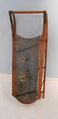 19th century Original Blue Painted Childs Plank Sled Wood & Iron Hand Paint AAFA
