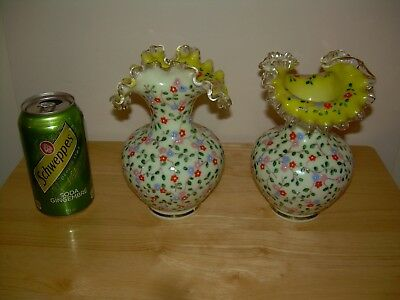 Pair of Glass Blown Vases Ruffled Yellow Hand Painted Forget Me Nots