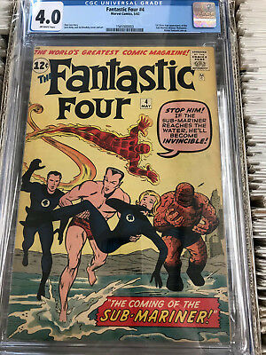 FANTASTIC FOUR  #4 CGC 4.0 1st Sub-Mariner  Off white pages