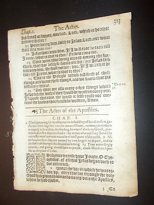 Title Page to Acts!!!!!!-1612-King James New Testament BIBLE  Leaf-1st Ed.-