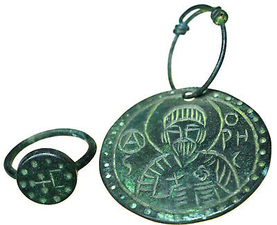 Byzantine Bronze Christian Icon Pendant and Byzantine Bronze Cross Ring Set