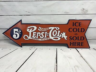 Vintage Pepsi Cola Ice Cold Sold Here Metal Arrow Sign Embossed Red Advertising