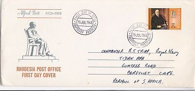 Rhodesia 1968 Alfred Beit First Day Cover Salisbury to South Africa