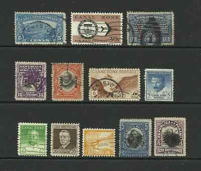 Canal Zone. Selection of 13 used stamps.