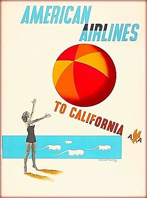 American Airlines to California Vintage Travel Advertisement Art Poster Print
