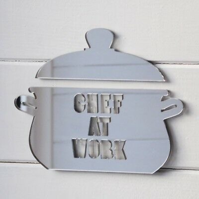 15cm Crock Pot Acrylic Mirrored Door Sign - CHEF AT WORK