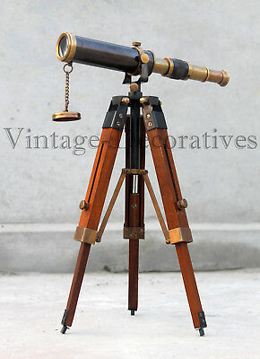 Nautical Antique Brass Telescope With Wooden Tripod Stand Marine Home Decor/Gift