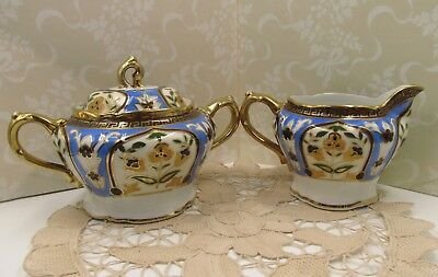 Antique Noritake Art Deco Hand Painted Sugar Creamer Set, Art Deco China