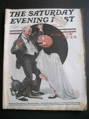 SATURDAY EVENING POST - Oct 23, 1920 - Halloween Issue - Norman Rockwell Cover