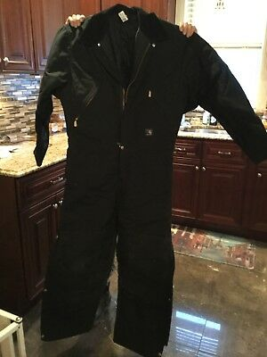 Mens Carhartt Black Coveralls 40 Regular Quilted Lined Wore Once