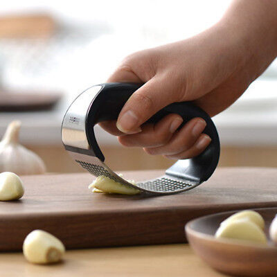 Stainless steel manual garlic press crusher squeezer masher home kitchen tool LY