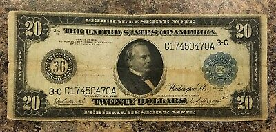 Series 1914 $20 FEDERAL RESERVE NOTE 3-C PHILADELPHIA VG F