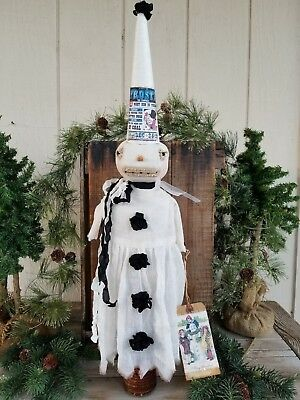 PriMiTiVe CHRISTMAS SNOW LADY SNOWMAN ART DOLL MAKEDO COLLECTIBLE WINTER WHITE