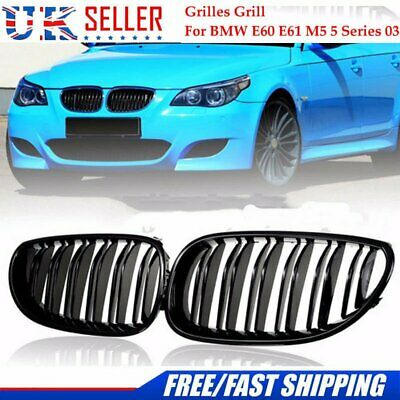 FOR 03-09 BMW E60 E61 5 Series M5 Front Kidney Grill Double Line Gloss Vents UK