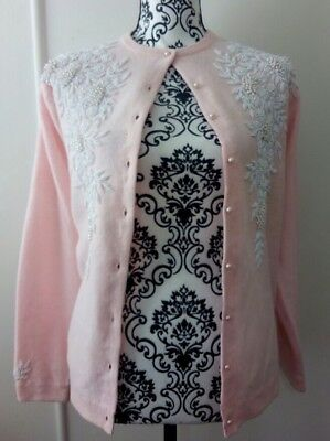 Vintage Pearl Beaded Cardigan Fashion By Cameo M/L