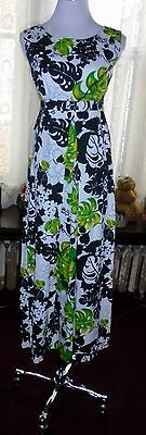 Hookana Vtg. 60's Hawaii Black White Green Philodendrons Maxi Muu Muu Dress S