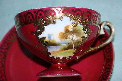 Lovely Vint Noritake china pedestal demi Cup Saucer-Mauve, Gold, Scenery