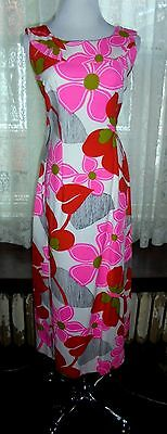 Hoaloha Vintage 60's Hawaii NWOT Mod Butterfly Floral Cotton Maxi Dress 12