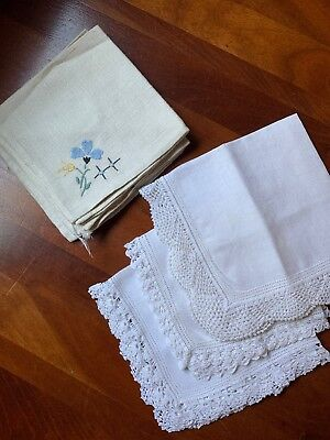 Lot Of Vintage Hankies Hand Embroidered Or Hand Crocheted From Denmark