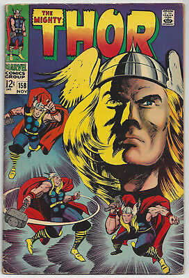 THOR #158: Silver Age Marvel Comic: Nov 1968: The Way it Was: VG- 3.5: