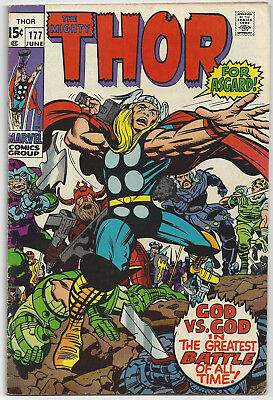 THOR #177: Bronze Age Marvel Comic: Jun 1970: To End in Flames!: FN: