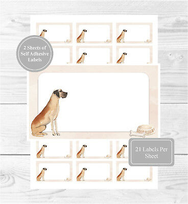 Great Dane Dog 42 Self Adhesive Stickers, Fun Blank Address Labels/Gift Tags