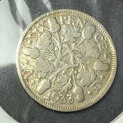 British Silver Sixpence - 1933 - King George V