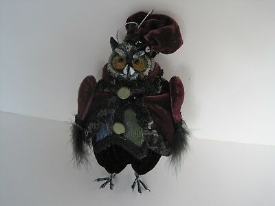 Katherine's Collection Dressed Owl figure feathers velvet sequins glitter