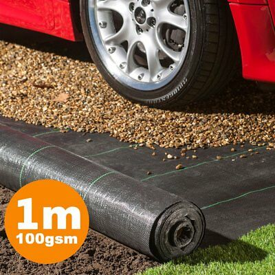 1m Wide 100gsm Ground Cover Weed Control Fabric Driveway Membrane Mulch Black
