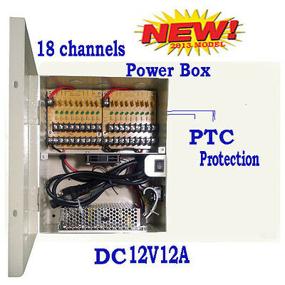 18CH 12V 12Amp DC Distributed Power Box for 4-in-1 CCTV Security Camera IP NVR