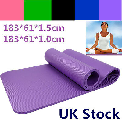 YOGA MAT EXERCISE FITNESS AEROBIC GYM PILATES CAMPING NON SLIP 15mm THICK UK