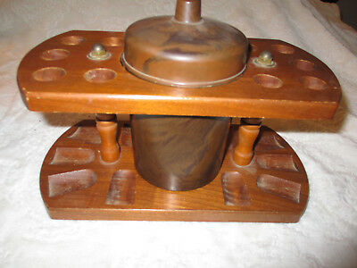 Vintage~Wooden~10 Pipe Holder~Smoking Stand~w/Marbled Plastic Tobacco Container