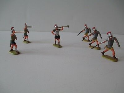 Lot of 6 Vintage Elastolin West Germany Plastic Toy Roman Soldiers