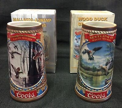 2- Coors Beer Steins 2004,2005 Game Birds Of The Wild Woodland Ducks & Mallards