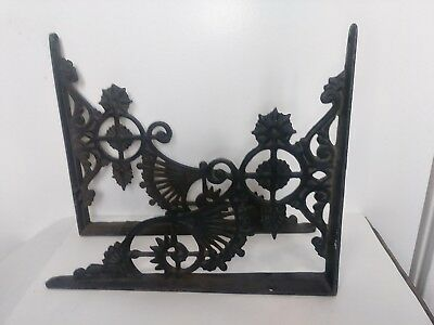 "2 True Antique Cast Iron Shelf Brackets Eastlake style 11"" x 9"" 1800s victorian"