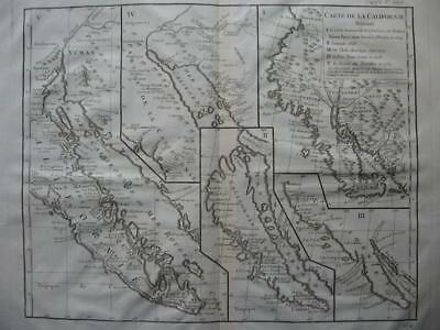 1770s - VAUGONDY - Map CALIFORNIA after Sanson Delisle Kino
