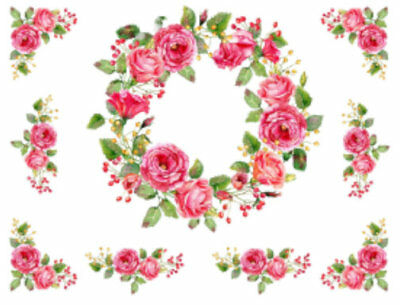 Shabby Pink Wreath Corners Swags Roses Peonies Flowers Transfers Decals FL484