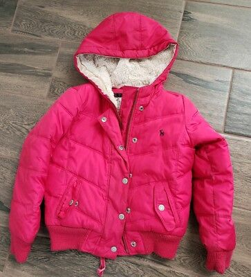 Girls Hot Pink Old Navy Fall Winter Puffer Puffy Coat/Jacket Fleece Hood Size 6