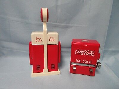 Coca Cola Toothpick Dispenser & COKE Vending Machine Salt & Pepper Shakers