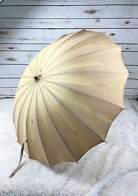 Vtg Parasol Nylon Umbrella Yellow Beige Lucite Handle and Chain Prop