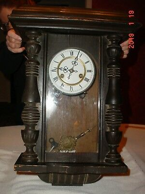 Antique Cabinet Clock with Porcelain Face Roman Numeral Needs Servicing