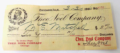 1906 Check for Discount of Vita-Ore Quack Medicines Theo. Noel Co. Chicago
