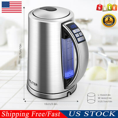 1.7L Electric Stainless Steel Tea Coffee Kettle Hot Water Boil Dry Protection US
