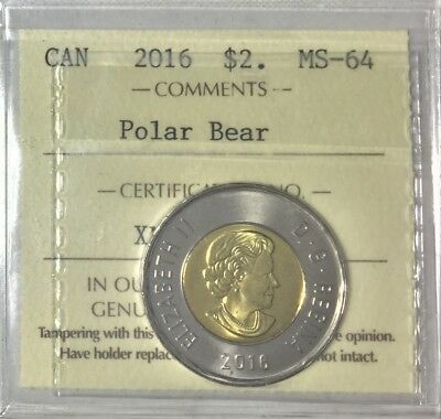 2016 Canada  $2 Polar Bear  ICCS Certified MS 64 # 35283
