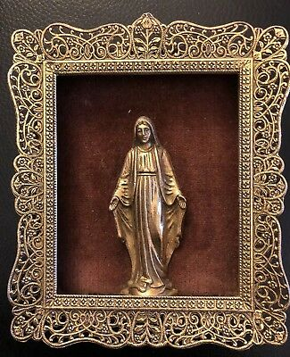 ANTIQUE BRASS PIERCED FRAME With MADONNA VIRGIN MARY