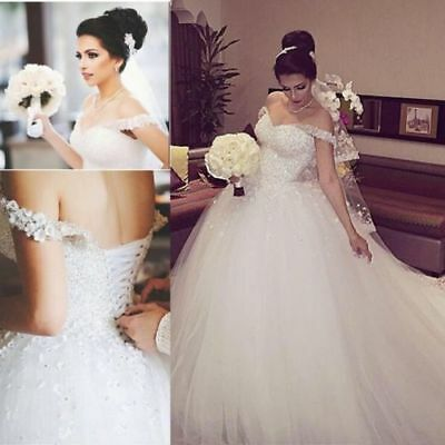 A-Line Wedding Dress 2019 Beads Off-Shoulder Tulle Ball Bridal Gown Court Train